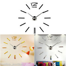 DIY Wall Clock 3D Home Modern Decoration Mirror Living Room Large Hours[Silver]
