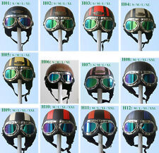 New Leather Covered Half Face Motorcycle Scooter Vespa Helmet with Goggles/Visor