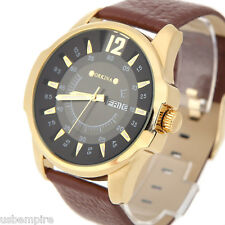 Men's Stainless Steel Day Date Leather Band Quartz Wrist Watch MG·ORKINA