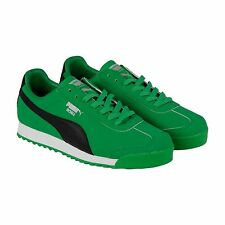 Puma Roma Blocks Mens Green Black Synthetic Lace Up Sneakers Shoes