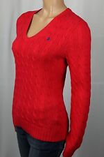 Ralph Lauren Sport Pink / Red Cable Knit V-Neck Sweater Blue Pony NWT