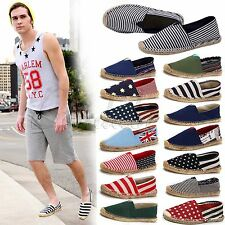 Casual Canvas Shoes Striped Hemp Loafers Flats Shoes Slip On Espadrille for Men