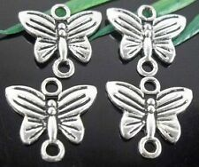 Wholesale 50/110Pcs Tibetan Silver Butterfly Connectors  14x13mm(Lead-free)