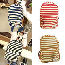 Unisex Women Backpack School Bag Girls Stripe Canvas Rucksack Campus Holiday