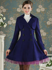 womens slim blue purple wool blend trench warm coat dress jacket double breasted