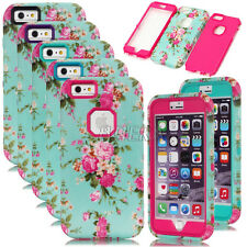 Rugged Peony Flower Matte Hard PC + Rubber Combo Case Cover For iPhone 6 6S Plus