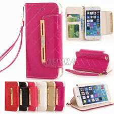 New Glossy Diamond Bling PU Leather Folio Clutch Purse Case For iPhone & Samsung