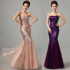 PLUS Long Sequined Mermaid Evening Party Gowns Formal Bridesmaids Prom Dresses