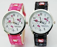 1 pcs HelloKitty Girls leather wrist quartz Children Watches 5 colours ZW1