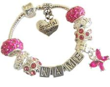 Ladies Girls ANY NAME Sparkling HOT Pink PERSONALISED Charm Bracelet GIFT BOX