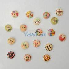 100PCS Cartoon Children Painted Wooden Buttons Fit Sewing and Scrapbook 15MM