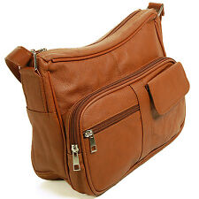 Women's Leather Organizer Purse Shoulder Bag Multiple Pockets Cross Body Handbag