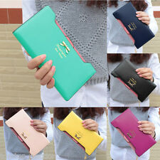 Girls Wallet Faux Leather Coin Card Holder Clutch Long Purse Bag Sweet Bowknot