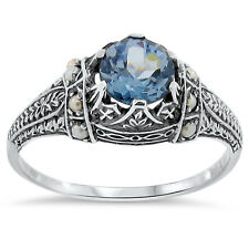 SIM AQUAMARINE SEED PEARL ANTIQUE VICTORIAN STYLE .925 STERLING SILVER RING,#153