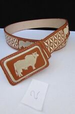 New Men Western Fashion Leather Belt Brown Mexico Big Bull Square Buckle 36 38