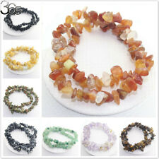 Vintage Jewelry Natural Muliti Stone Gemstone Chips Beads Stretchy Bracelet 15""