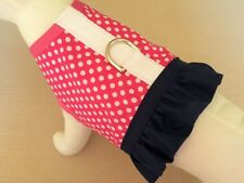 Pink With White Polka Dots Ruffle Dog Harness Vest Clothes Apparel