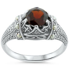 GENUINE GARNET SEED PEARL ANTIQUE VICTORIAN STYLE .925 STERLING SILVER RING,#185