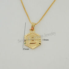 """18K YELLOW GOLD GP OVERLAY 18"""" NECKLACE&LETTER B D F H K L R  INITIALS PENDANT"""