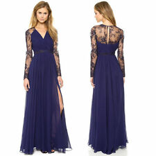 Sexy Blue Lace Long Chiffon Evening Formal Party Cocktail Dress slim Prom Gown