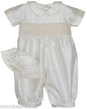 Boys silk Ring bearer Christening suit and cap smocked Baptism Ceremony 17259