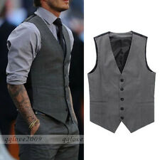 Men Casual Formal Slim Fit Business Dress Tops Tuxedo Vest Suit Waistcoat Gray