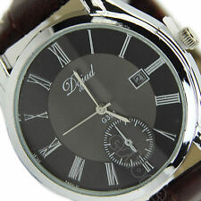 Men's Fashion Stainless Steel Dial Date Leather Band Quartz Wrist Watch