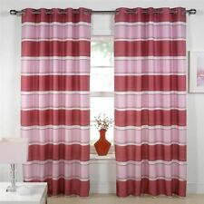 Santana Pink Eyelet Lined Voile Curtains, Ready Made Ringtop Curtain Panels