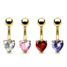 Navel Piercing Gold Stud CZ Zirconia Crystal Heart Stone Piercing Banana
