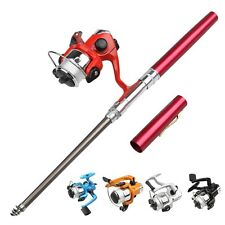 Portable Telescoping Fiberglass Pen Fishing Rod Pole Reel Spinning Wheel Combos