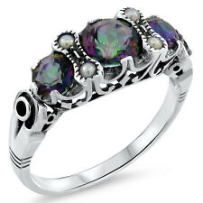 MYSTIC HYDRO QUARTZ SEED PEARL ANTIQUE DESIGN .925 STERLING SILVER RING,    #544
