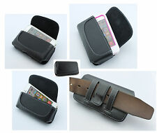 Premium Horizontal Cell Phone Leather Cover Pouch Sideways Holster Clip Case