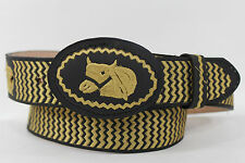 New Men Charro Belt Western Black Leather Mexico Gold Horse Rodeo Big Buckle 42