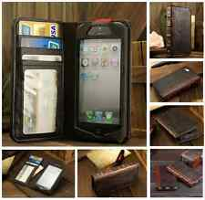 Vintage Retro BOOK Style Brown Leather Card Case Cover Wallet For Smart Phones
