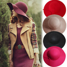 Soft Women Vintage Wide Brim Wool Felt Bowler Large Fedora Hat Floppy Cloche New