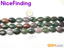 "Natural Oval Green Indian Agate Gemstone Beads For Jewelry Making Strand 15"" DIY"
