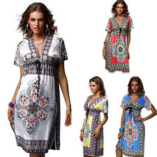 2015 New Fashion Women Summer Beach Dress Short Sleeve Casual Dress Plus Size