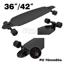 "36"" / 42"" MAPLE DROP THROUGH Complete Skateboard LONGBOARD THRU Black"
