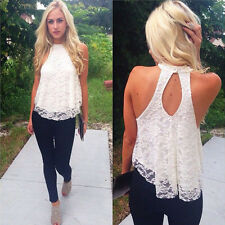 Women Fashion Backless Blouse Lace Floral Sleeveless Casual Sexy Loose Shirt Top