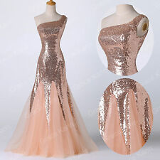 Plus Size Beading Wedding Bridesmaid Formal Evening Party Gown Long Prom Dresses