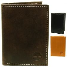 Timberland Men's Leather Wallet Double Billfold Section ID Card Window Trifold