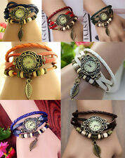 Women Design Retro Leather Bracelet leaf Decoration Quartz Wrist Watch Gift