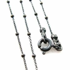"""Oxidized Sterling Silver Necklace -Beaded Ball Chain - Satellite Chain (16""""-36"""")"""