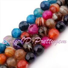 "12mm Round Faceted Stripe Agate Onyx Spacer Gemstone Beads Strand 15"" Pick Color"