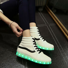womens LED lace up round toe high top shoes Korean lights USB athletic sneakers