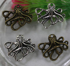 Free shipping:25/100pcs Retro style lovely octopus alloy charms pendant 23x20mm