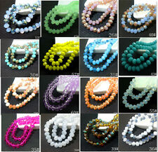 100pcs Rondelle Faceted Crystal Glass Jade Porcelain Loose Beads 6mm 60 Color