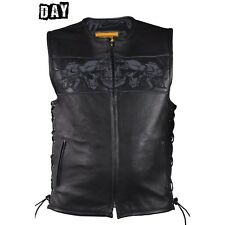 MENS MOTORCYCLE BLACK LEATHER REFLECTIVE VEST w/ LARGE CONCEAL POCKETS - DA54