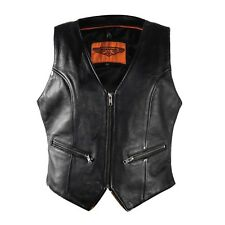 LADIES WOMENS BIKER MOTORCYCLE PREMIUM LEATHER VEST w / LACES & GUN POCKET -DA55