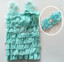 Baby Girls Flower Headband 2PCS Lace Ruffles Photo Prop Romper Jumpsuit SZ 3-24M
